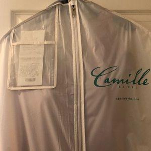 Camille La Vie red one shoulder formal dress sz 14